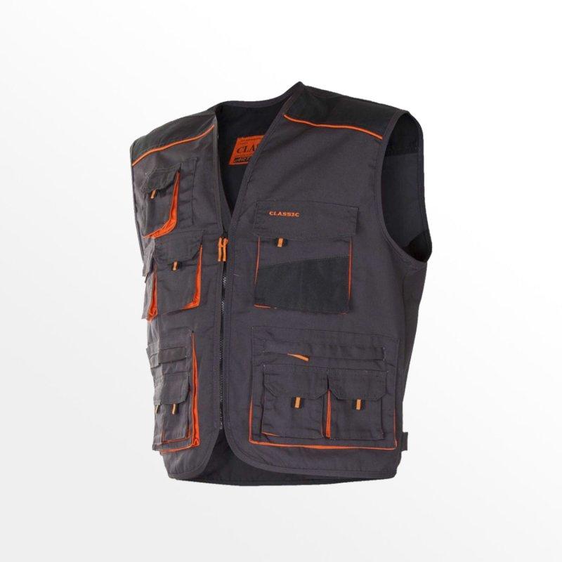 56 Arbeitsweste grau//schwarz//orange Gr